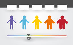 Colorful characters with different weight. And BMI indicator Royalty Free Stock Photography