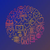 Colorful charity round illustration Stock Images
