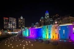Colorful Charlotte Skyline. The Charlotte, North Carolina skyline taken from the Romare Bearden Park Stock Photo
