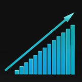 Colorful chart and arrow on a black background growing up. Colorful chart and arrow on a black background Royalty Free Stock Photo