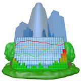 Colorful chart and city. Background Royalty Free Stock Photo