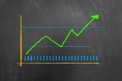Colorful chart graphic with arrow up drawn on chalkboard stock photo