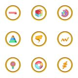 Colorful chart icons set, cartoon style. Colorful chart icons set. Cartoon style set of 9 colorful chart vector icons for web design Stock Images