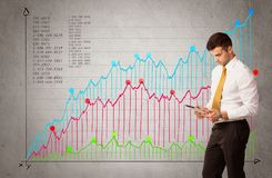 Colorful chart with numbers and businessman Royalty Free Stock Photography