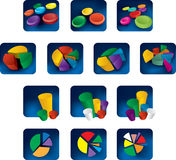 Colorful charts. Different styles of vector illustration colorful charts Stock Image