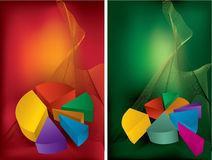 Colorful charts. Colorful chart on red and green backgrounds Stock Photography