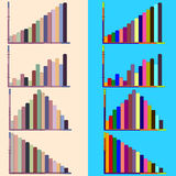 Colorful charts and graphs. Set of  graphs on background. Chart Stock Image
