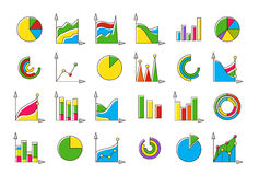 Colorful charts  icons set Royalty Free Stock Photo