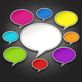 Colorful Chat Bubbles Conversation on Black Royalty Free Stock Photos