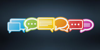 Colorful chat bubbles 3D rendering. Colorful chat bubbles on dark background 3D rendering Royalty Free Stock Photo