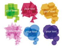 6 Colorful Chat Signs. On white royalty free illustration