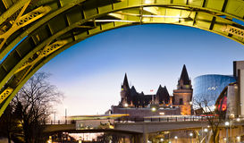Colorful Chateau. The Fairmont Chateau Laurier Hotel seen from under the Laurier Street bridge in Ottawa royalty free stock photos