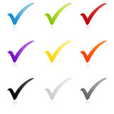 Colorful check mark set royalty free stock photo