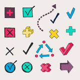 Colorful check marks and check boxes Royalty Free Stock Photos