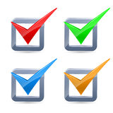 Colorful  check marks Stock Images