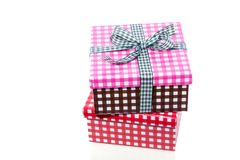 Colorful checkered giftboxes Stock Photos