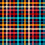 Colorful Checkered Gingham Plaid Fabric Seamless Pattern In Blue White Red And Yellow, Vector Print Stock Images