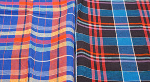 Colorful checkered texture background. Textile background Stock Photos