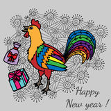 Colorful cheerful cartoon rooster, symbol 2017 year on an abstra. Ct background by eastern calendar with gifts. Christmas and New Year Greeting card design Royalty Free Stock Images