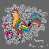 Colorful cheerful cartoon rooster, symbol 2017 year. On an abstract background by eastern calendar with gifts. Christmas and New Year Greeting card design Royalty Free Stock Images