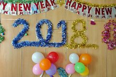 Colorful and cheerful for Happy new year 2018,Balloons and rain stock images