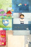Sailor boy  first holy communion, invitation card vertically Royalty Free Stock Images