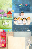 First Holy Communion angel and children  invitation card vertically. Colorful and cheerful invitation card, First  Holy Communion angel and children and Stock Images
