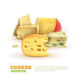 Colorful Cheese Template. With dorblu edam maasdam parmesan on white background isolated vector illustration Royalty Free Stock Images