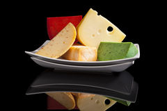 Colorful cheese variaton. Royalty Free Stock Image