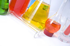 Colorful chemicals glassware Stock Photo