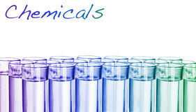 Colorful chemicals with pipette stock photos