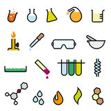 Colorful Chemistry Icon Set. Collection of 18 colorful cartoonish chemistry vector design elements royalty free illustration