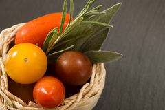 Colorful cherry tomatoes in wicker basket with herbs Stock Photos