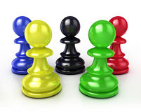 Colorful chess pawns. 3D render illustration Royalty Free Stock Photos