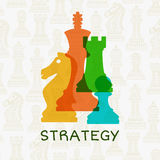Colorful chess pieces on abstract background with chess. Strategy concept. Vector illustration Royalty Free Stock Photography