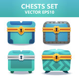 Colorful chests set. Assets set for game design and web application. Colorful chests set. Ready assets set for game design and web application vector illustration