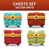 Colorful  chests set. Assets set for game design and web application. Colorful  chests set. Ready assets set for game design and web application Stock Photography