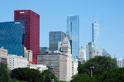 Colorful Chicago skyline and modern buildings. Colorful modern buildings fill the Chicago sky line in Chicago Illinois USA Stock Image