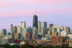 Colorful Chicago skyline at twilight. Stock Photo