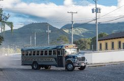 ANTIAGUA, GUATEMALA - NOVEMBER 11, 2017: Colorful Chicken Bus in Antigua, Close to Guatemala City. Antigua is Famous for its Spani stock photo