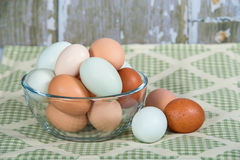 Colorful chicken eggs in a glass bowl Royalty Free Stock Photos