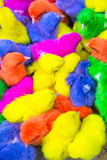Colorful chickens in a box. Asian. Stock Image