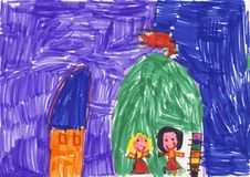 Colorful child drawing. A very colorful child drawing made with feltpens Stock Photography