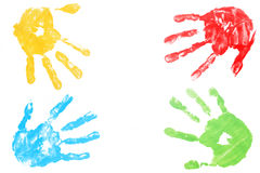 Colorful child hand printed Royalty Free Stock Images