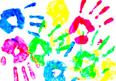 Colorful child hand prints Stock Image