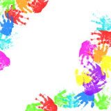 Colorful child hand prints Royalty Free Stock Photo
