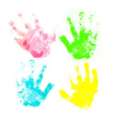 Colorful child hand prints Royalty Free Stock Photography