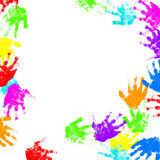 Colorful child hand prints Stock Photo