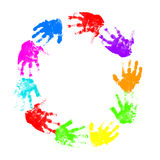 Colorful child hand prints Royalty Free Stock Images