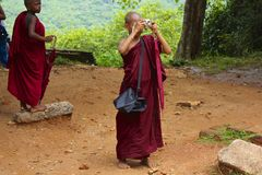 Colorful Child Monk Taking Photograph in Sri Lanka Royalty Free Stock Photos